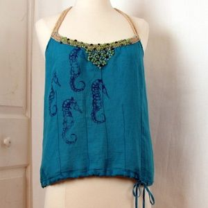 Free People Aqua Blue Beaded Tank Seahorses SM
